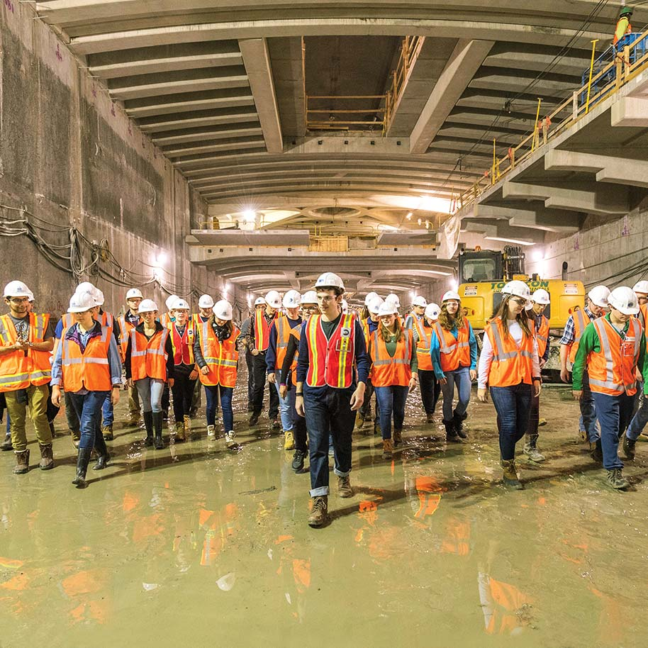 Undergraduate students are pictured exploring the Metropolitan Transportation Authority's East Side Access project, one of the largest transportation infrastructure projects underway in the United States