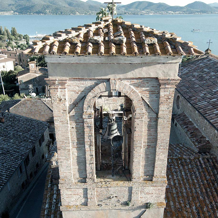 Bell tower from church in Italy that researchers evaluated for vulnerabilities