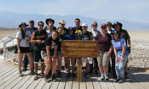 Students in front of Badwater Basin sign
